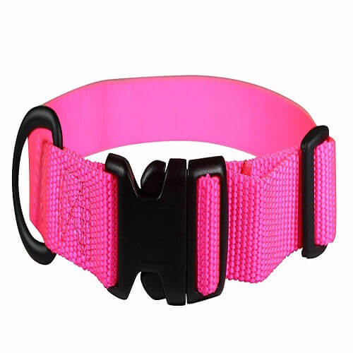 PETMATE NYLON ADJUSTABLE DOG COLLAR HOT PINK