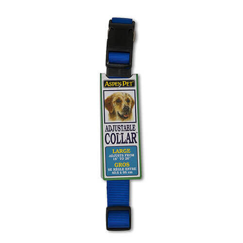 ASPEN PET PRODUCTS 20808 Nylon Adjustable Collar 16 to 26-Inch Blue