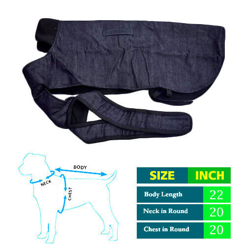 Denim Dog Coat with Black Collar 22no