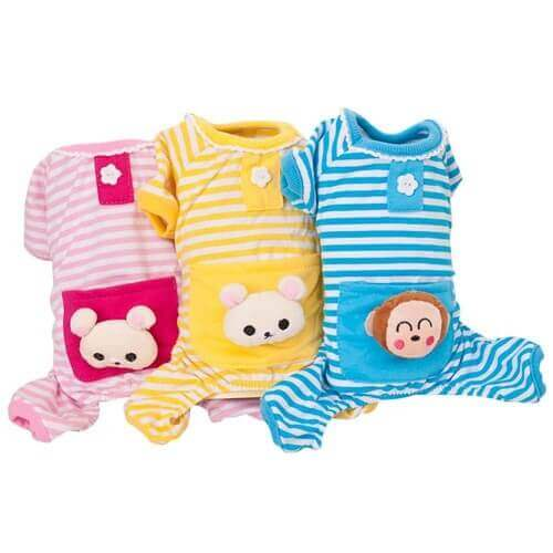 Dog Cat Puppy Soft Striped Pajamas