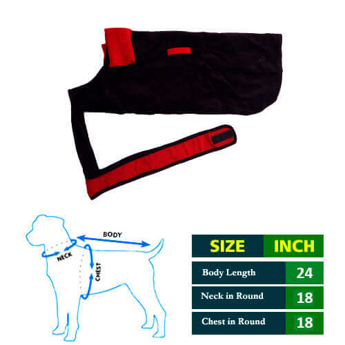 Dog Coat Black Chenell with Red Collar 24No