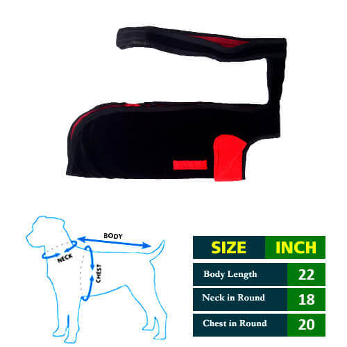 Dog Coat Black with Red Collar 22No