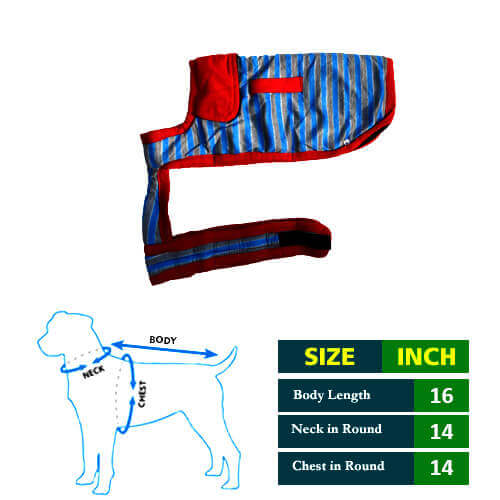 Dog Coat Blue and Grew Strips with Red Collar 16No