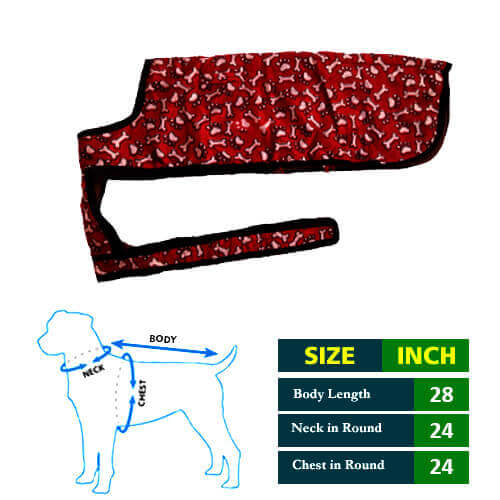 Dog Coat Red with Paa and Bone Print 28 No