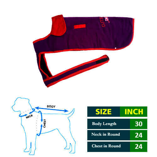 Dog Coat Violet Blue with red Collar 30 No