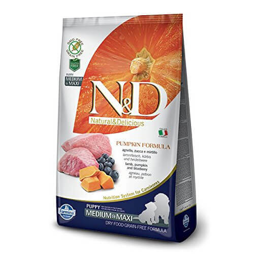 Farmina N&D Pumpkin Grain Free Lamb and Blueberry Puppy Food 12 Kg- Medium & Maxi