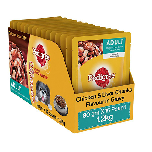 Gravy Pedigree Adult Chicken and Liver Chunks 80G(Pack of 15)