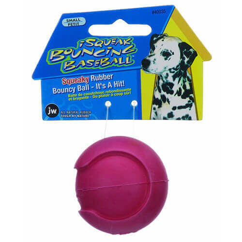 JW - DOG CAT AQUATIC 0440035 40035 ISQUEAK BOUNCIN BASEBALL ASSORTED SMALL