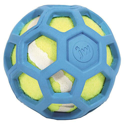 JW Pet Company 42204 Proten Hol-ee Roller Lime Green Tennis Ball Assorted Colors Small Green Red Blue