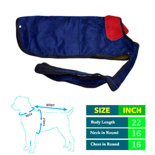 Navy Blue Dog Coat with Red Collar 22 No