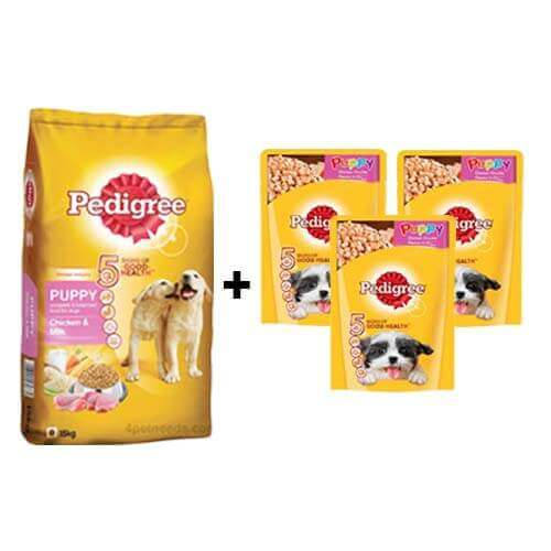 Pedigree Puppy Chicken and Milk 15kg + ( Free 3Pc Pedigree Puppy Chicken Chunks Flavour in Gravy 80gms )