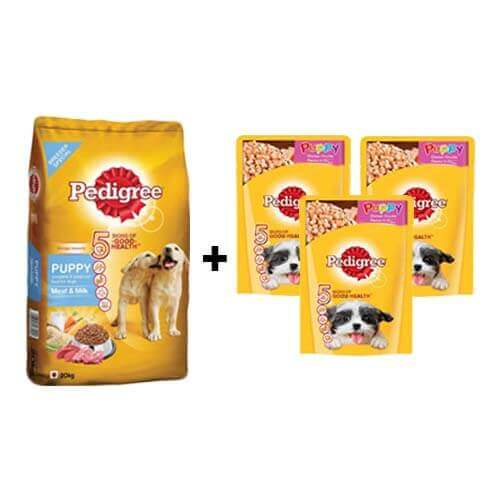 Pedigree Puppy Meat and Milk 20kg + ( Free 3Pc Pedigree Puppy Chicken Chunks Flavour in Gravy 80gms )