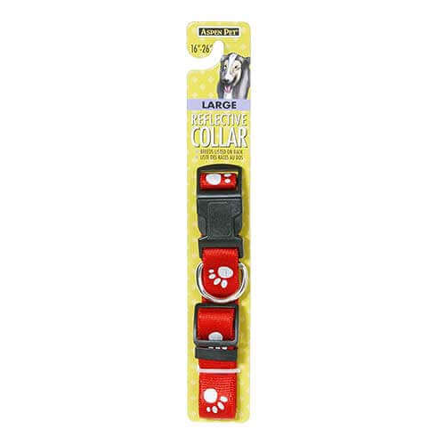 ASPEN PET REFLECTIVE PAW DOG COLLAR RED