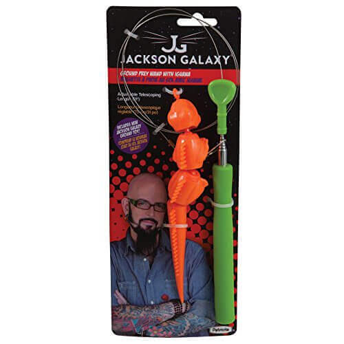 Jackson Galaxy Ground Prey Wand with Iguana