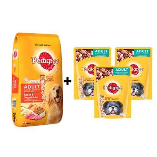 Pedigree Adult Dog Food Meat and Vegetables 20kg + Free 3Pc Pedigree adult chicken and Liver Chunks Gravy Wet Food (3pcx30 Rs)