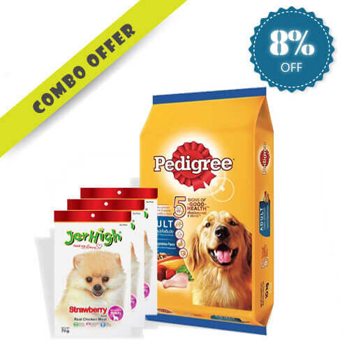 Pedigree Chicken and Vegetables 10kg + 3pc Jerhigh Strawberry Stick Chicken Meat Dog Treats 70g