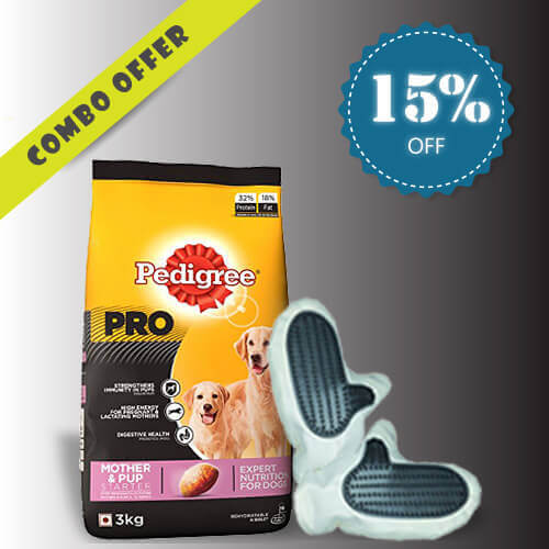 Pedigree Puppy Large Breed 3Kg + Dog Cat Petting Glove Combo