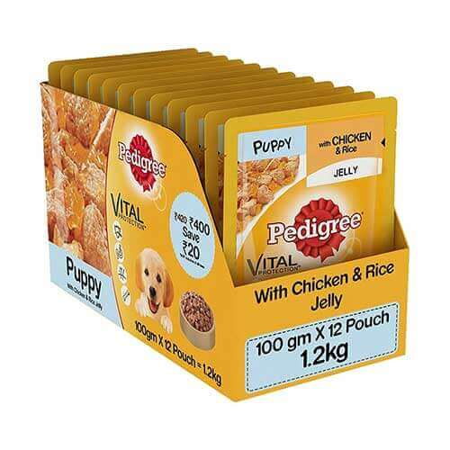 Pedigree Chicken & Rice Flavor in Wet Gravy for Puppies 100g