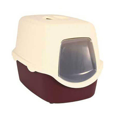 Trixie Vico Cat Litter Tray with Dome (Bordeaux/Cream)