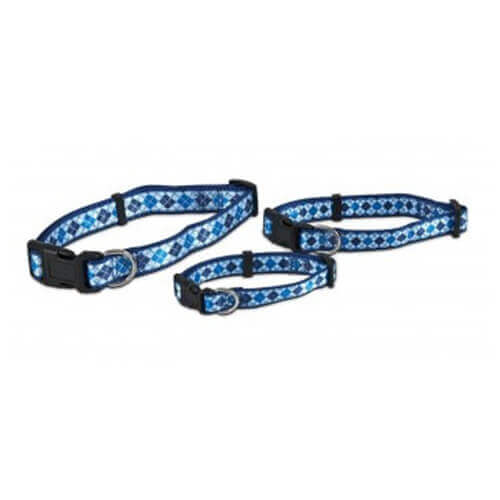 Aspen Pet  Collar for Pets, 1 by 16 to 26-Inch, Harlequin Blue