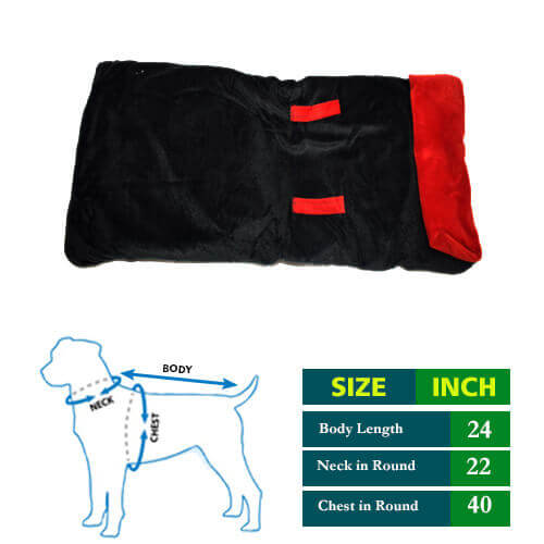 Dog Coat Black Cottrige with Red Collar 24 no