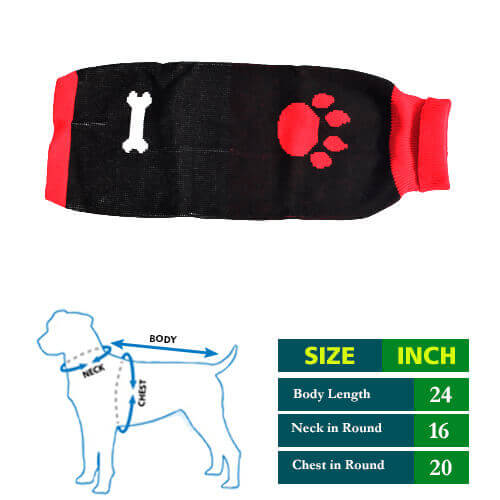 Black Red high Neck with Paw Sticker Dog Sweater 24 no