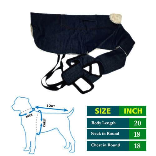 Dog Coat Blue Denim with white fur Collar 20 no