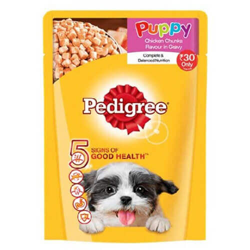 Pedigree Puppy Chicken Chunks flavour in Gravy 80 gms (Pack Of 15)