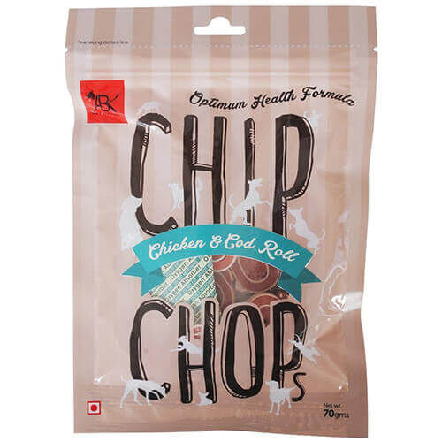 Chip Chops Chicken and Codfish Rolls Dog Snacks, 70 g