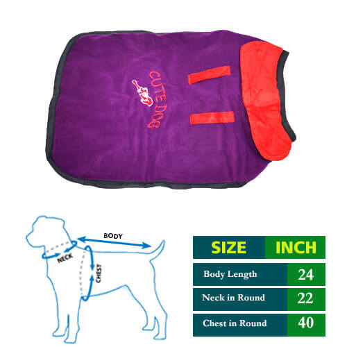 Dog Coat Cute Purple with Red Collar 24no
