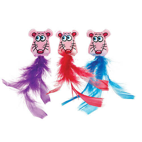 Fat Cat Fluffy Feathers Cat Toy  (Assorted)