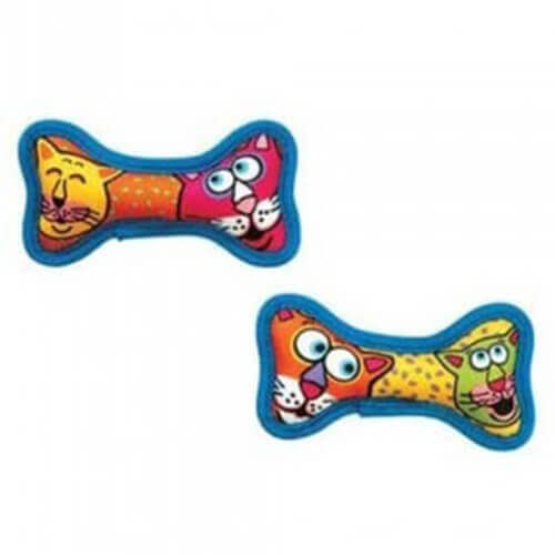 Fat Cat Mini-Dog Squeaker Bones Battle Tested 2 Pack