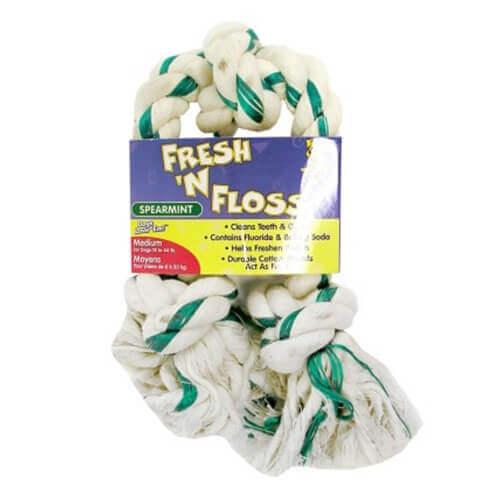 FRESH-N-FLOSS 3-KNOT BONE, Color: SPEARMINT; Size: MEDIUM (Catalog Category: Dog:TOYS)