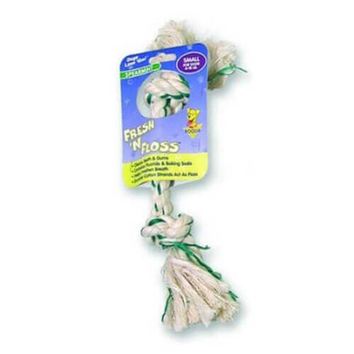 Fresh-N-Floss Two Knot Bone Dog Toy with Spearmint Flavor Size: Small