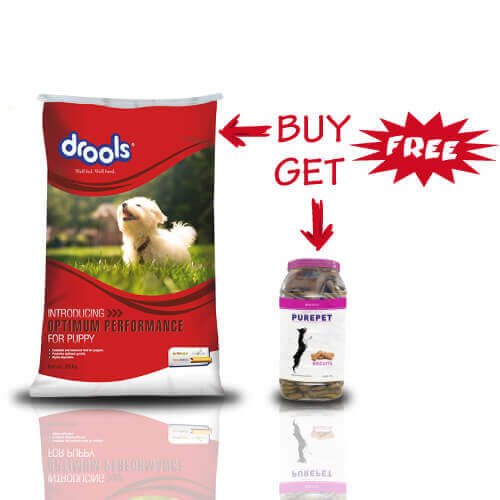 Drools Optimum Performance for Puppy Dog Food, 20 kg +Free Purepet Biscuits With Chicken Flavor 1kg