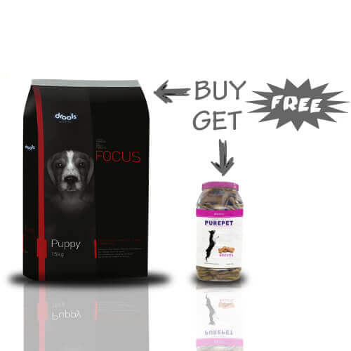 Drools Focus Puppy Food 15kg + Free PUREPET BISCUITS CHICKEN FLAVOR 500GM