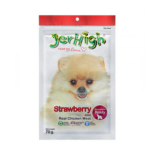 Jerhigh Strawberry Stick Chicken Meat Dog Treats 70gm