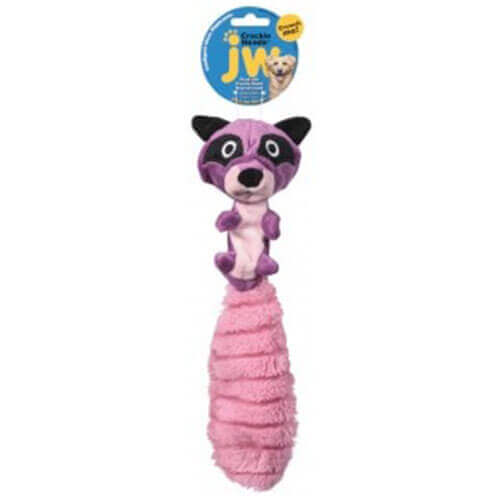JW Crackle Heads Plush Ricky Raccoon Medium Pack Pink