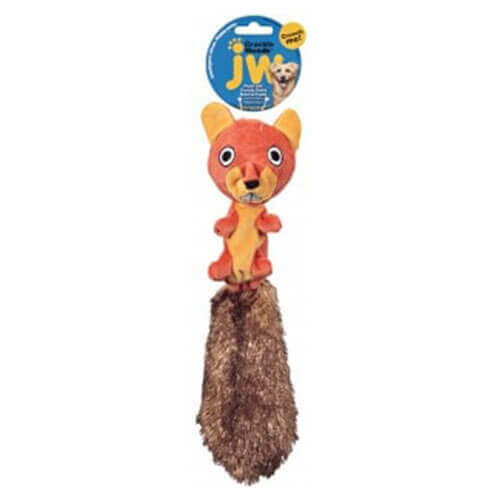 JW Crackle Heads Plush Skippy Squirrel Medium Size Brown