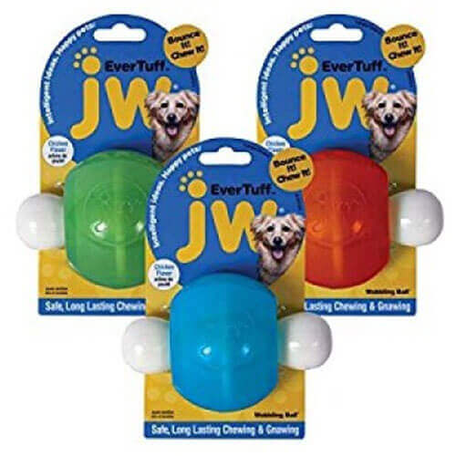 JW Pet 46123 EverTuff Wobbling Ball Toys for Pets, Medium, Assorted Colors (White with Orange or Blue)