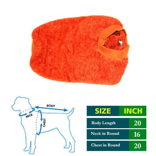 Orange Sparkle Dog Sweater 20 no