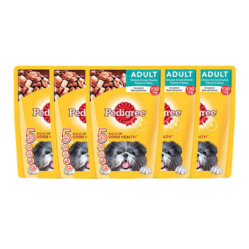 Pedigree adult chicken and Liver Chunks Gravy Wet Food ( 26 PC X 30 Rs )