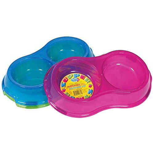 Pet Brands Translucent Super Bowl Double Dish for Dog, 0.325 L