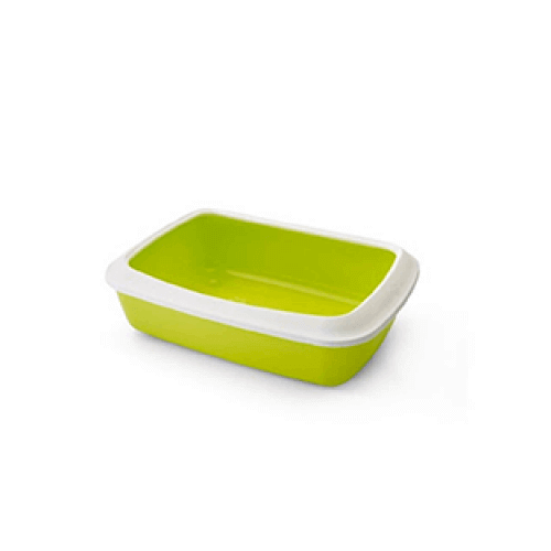 Savic Cat Litter Tray Oval & Rim Large - White/Lemon Green