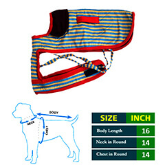 Dog Coat Blue and Yellow Strips with Black Collar 16No