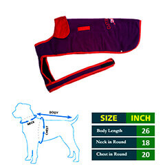 Dog Coat Violet Blue with red Collar 26 No