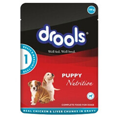 Drools Real Chicken Liver Chunks in Gravy Puppy Dog Food 150gm Pack of 20