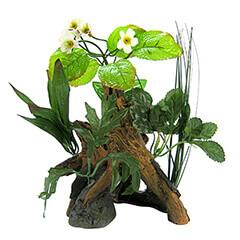 Environments Chestnut with Plants Aquarium Ornament