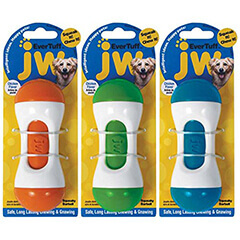 JW Pet 46118 EverTuff Squeaky Barbell Toys for Pets Large Assorted Colors White with Orange Green or Blue