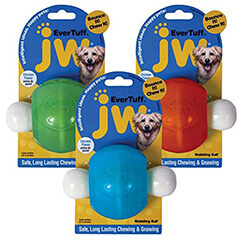 JW Pet Company 46124 EverTuff Wobbling Ball Toys for Pets Large Assorted Colors White with Orange or Blue